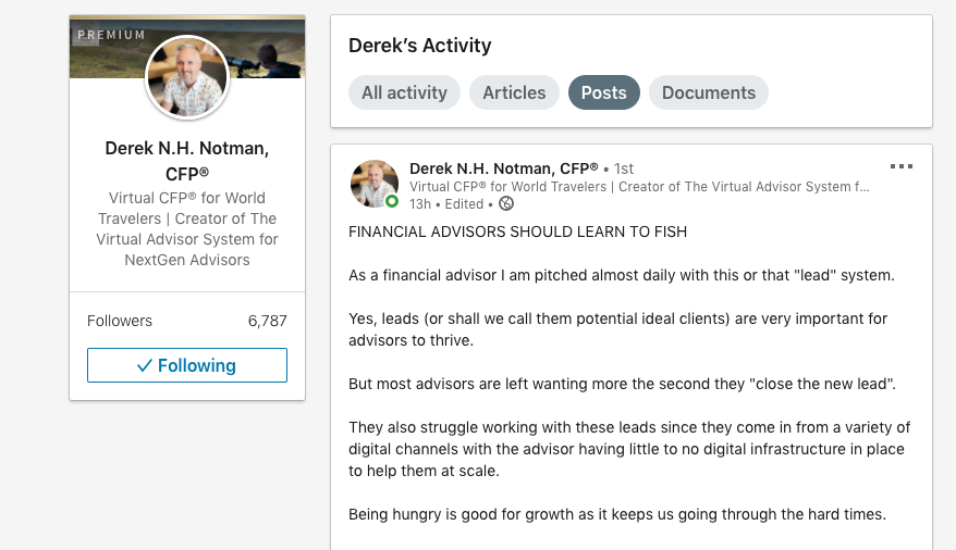 virtual advisor, linkedin profile, virtual financial advisor linkedin